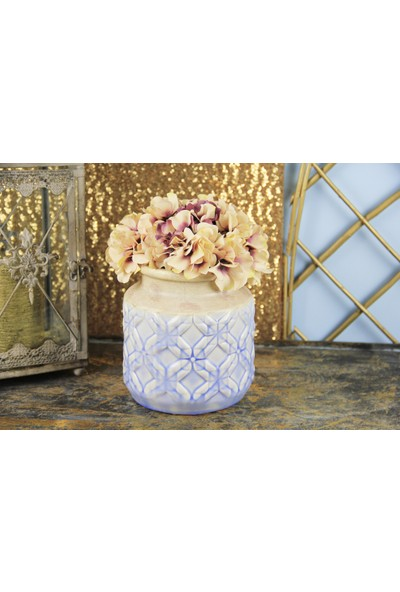 Fidex Home Dekoratif Mavi Desenli Vazo