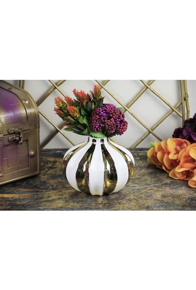 Fidex Home Dekoratif Gold Çizgili Vazo