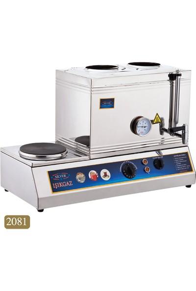 Işıkgaz Silver 40'Lık - 2 Demlikli Kaynaklı Çay Kahve Takımı - Elektrikli