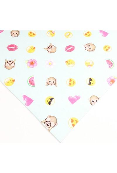 Byozras Renkli Baskılı Keçe - 50x50 cm - 1 mm - Emoji Desen