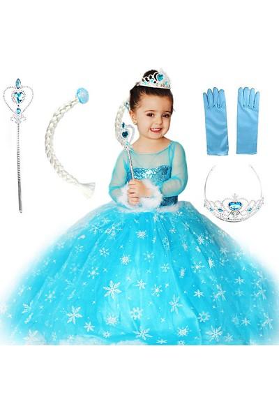 Masho Trend Frozen Elsa Uzun Kollu Tarlatanlı Kabarık Kostüm 5'li Set