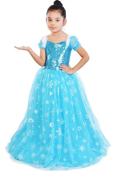 Masho Trend Frozen Elsa Tarlatanlı Kısa Kol Tüylü Abiye Kostüm