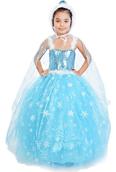 Masho Trend Frozen Elsa Kapüşonlu Tarlatanlı Pelerinli Askılı Tüylü Model Kostüm
