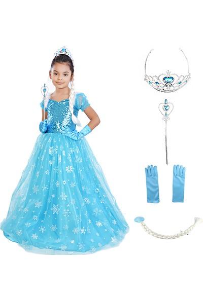 Masho Trend Frozen Elsa Tarlatanlı Simli Kısa Kollu Aksesuarlı Kostüm