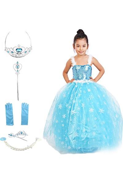 Masho Trend Elsa Frozen Tarlatanlı Askılıklı Aksesuarlı Simli Kostüm