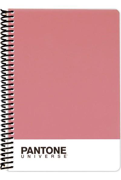 Pantone A5 Boy Spiralli Çizgili Defter Kuru Gül 47260-7