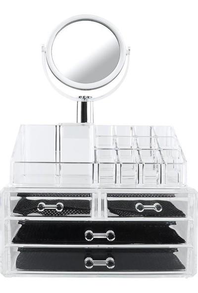Aldepo Aynalı Makyaj Organizeri - 4 Çekmeceli