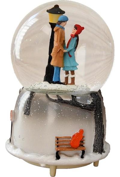 Mnk Sevgiliye Özel Gece Lambası Işıklı Kar Küresi ve Müzik Kutusu