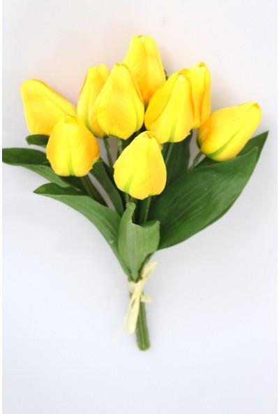 Yapay Çiçek Deposu İpek 9 Dal Tombul Lale Demeti Sarı