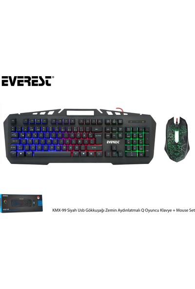 Everest KMX-99 Gökkuşağı Zemin Aydınlatmalı Oyuncu Klavye + Mouse