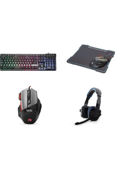 Everest Gaming Pro Set (Işıklı Gökkuşağı Klavye + Oyuncu Mouse + Pad + Gaming Işıklı Kulaklık)