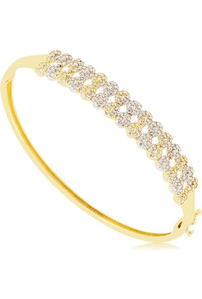 Cigold 14 Ayar Taşlı Kelepce K1Klp000440