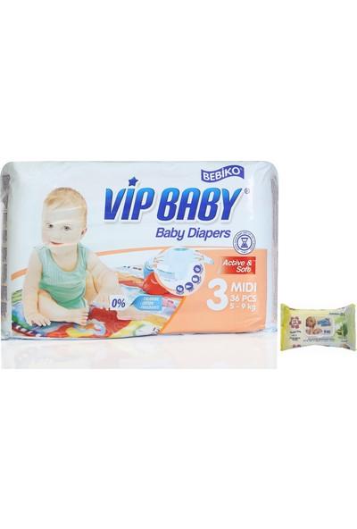 Vip Baby Active&Soft 3 Numara Midi 36 Adet Bebek Bezi
