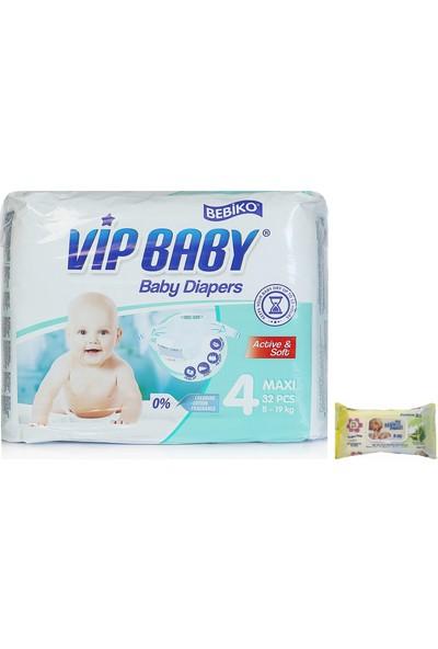 Vip Baby Active&Soft 4 Numara Maxi 32 Adet Bebek Bezi