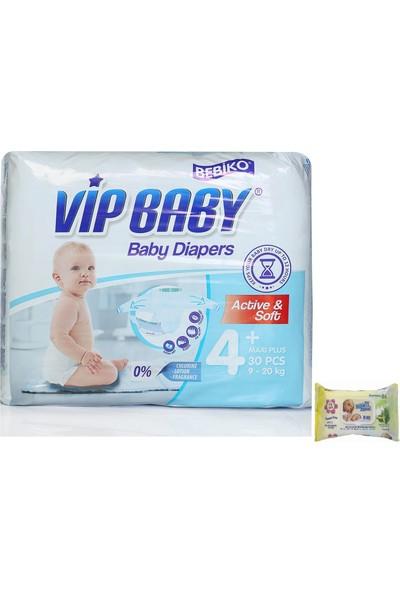 Vip Baby Active&Soft 4 Numara Maxi Plus 30 Adet Bebek Bezi