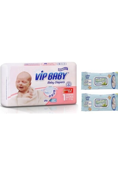 Vip Baby Active&Soft 1 Numara Yenidoğan 44 Adet Bebek Bezi + Islak Mendil