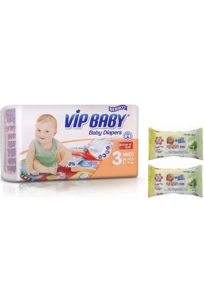 Vip Baby Active&Soft 3 Numara Midi 36 Adet Bebek Bezi + Islak Mendil