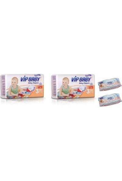 Vip Baby Active&Soft 3 Numara Midi 72 Adet Bebek Bezi + Islak Mendil