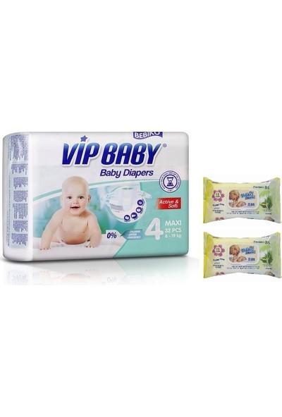 Vip Baby Active&Soft 4 Numara Maxi 32 Adet Bebek Bezi + Islak Mendil