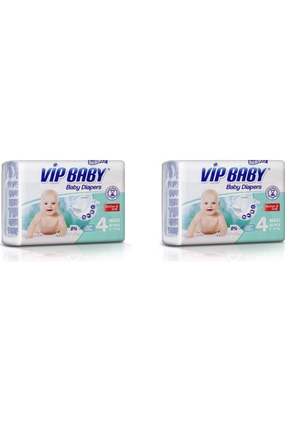 Vip Baby Active&Soft 4 Numara Maxi 64 Numara Adet Bebek Bezi