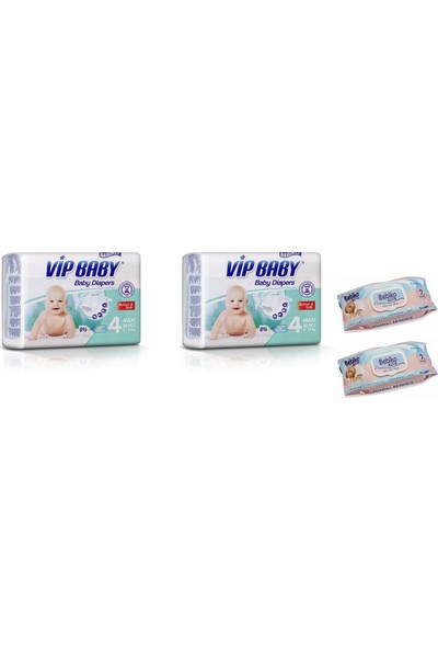Vip Baby Active&Soft 4 Numara Maxi 64 Numara Adet Bebek Bezi + Islak Mendil