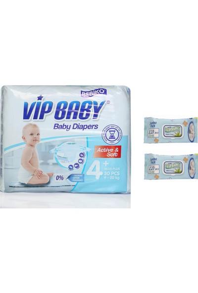 Vip Baby Active&Soft 4 Numara Maxi Plus 30 Adet Bebek Bezi + Islak Mendil