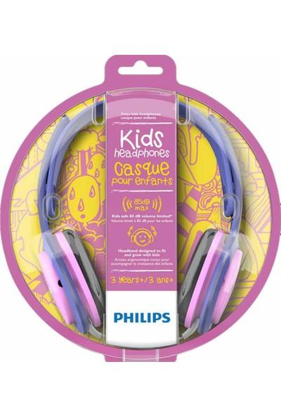 Philips SHK2000PK Kablolu Kulak Üstü Çocuk Kulaklığı 85dB - Pembe Mor