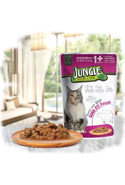 Jungle Pouch Kısır Kedi Biftekli 22 Ad. Jel Yaş Ma