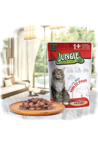 Jungle Pouch Kedi Biftekli 22 Ad.Soslu Yaş Mama 10