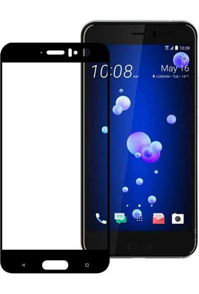 Microcase HTC U11 Çerçeveli Tempered Glass Cam Ekran Koruyucu Siyah