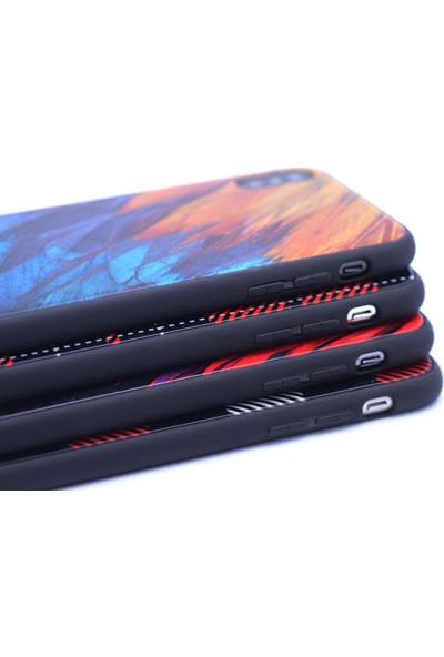 Case 4U Apple iPhone X Kılıf Desenli Temperli Cam Arka Kapak Kırmızı Otlar