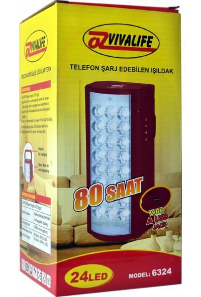 Vivalife Telefon Şarj Edebilen Şarjlı Işıldak 24 LED USB 80 Saat Kesintisiz Işık
