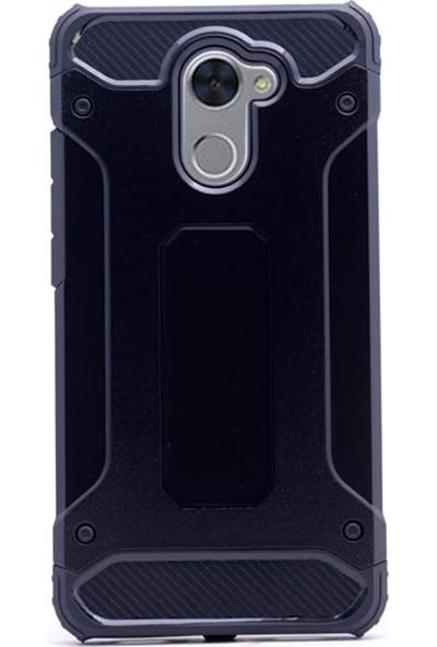 Gpack Huawei Y7 Kılıf Sert Çift Katmanlı Crash Kılıf + Cam + Kalem