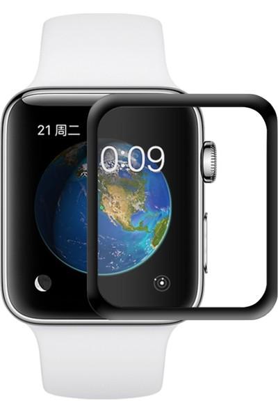 Microsonic Apple Watch 38mm 3D Kavisli Temperli Cam Full Ekran koruyucu Film Siyah
