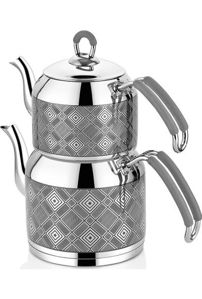 İnter Çelik Hasır Çaydanlık Gri Aile Boyu