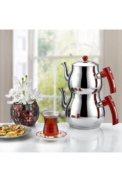 İnter Çelik Mercan Çaydanlık Sade Kırmızı Aile Boyu