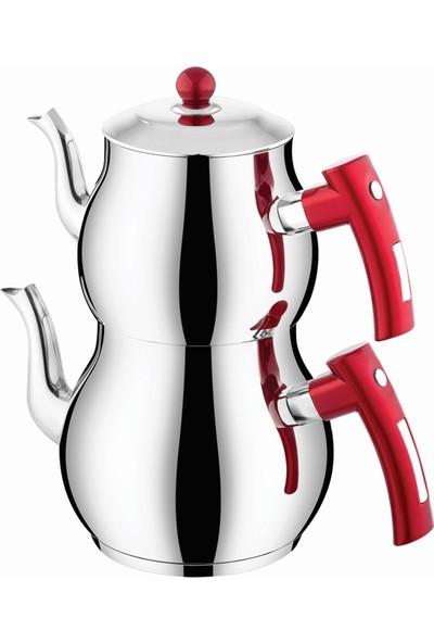 İnter Çelik Mercan Çaydanlık Sade Kırmızı Orta Boy