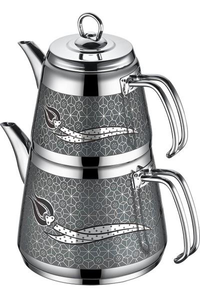 İnter Çelik Hanzade Desenli Çaydanlık Gri Mini Boy