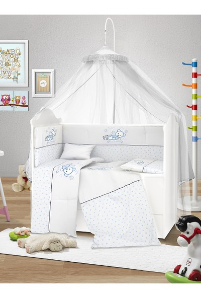 Lava Baby 60x120 Pamuklu Uyku Seti - Blue Bear 8 Parça