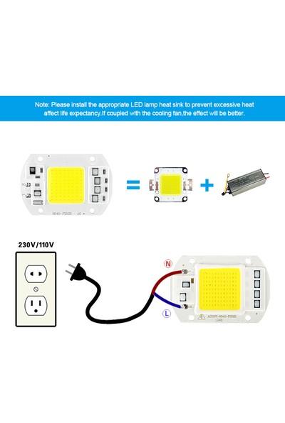 Robotekno Power Led COB Led 50W 220V AC Projektör Çip - Beyaz Işık