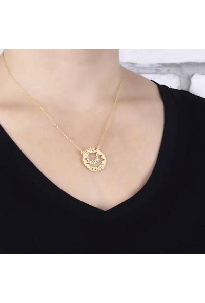Glorria Kişiye Özel 3 İsimli Gümüş Kolye Sarı