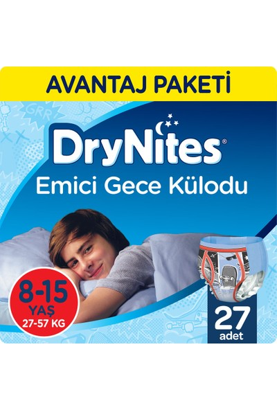 Huggies DryNites Erkek Emici Gece Külodu 8-15 Yaş Fırsat Paketi 27 Adet
