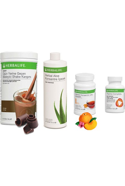Herbalife Çikolata Shake - Şeftali Çay 50 gr - Aloe Vera - Thermo Tablet
