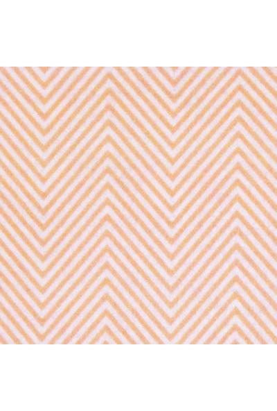 Turuncu V Çizgi Desenli Sentetik Keçe Kumaş 50cm x 50cm