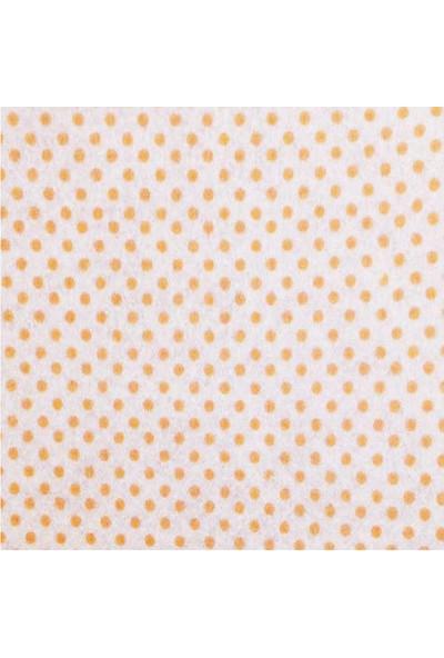 Turuncu Puantiye Desenli Sentetik Keçe Kumaş 50cm x 50cm