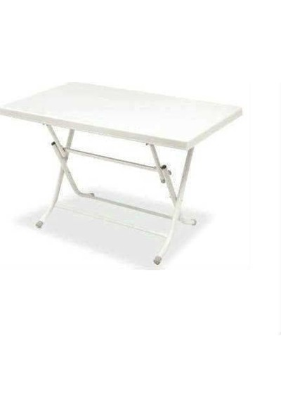 Katlanabilir Metal Ayaklı Plastik Masa Beyaz Renk