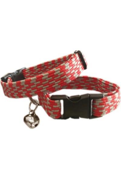 Ans Elastik Örme Yavru Kedi Köpek Boyun Tasması Kırmızı-Gri 10 Mm A=23/32 Cm