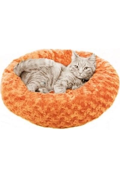 Pet Pretty Kedi Köpek Simit Yatak Gül Desenli 58*12 Cm Turuncu