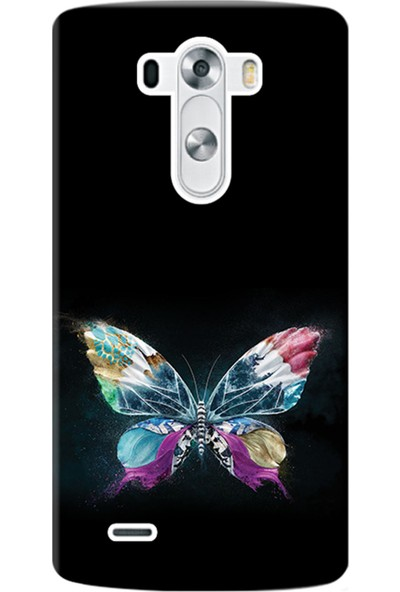 Kılıf Merkezi LG G3 Kılıf D855 Silikon Baskılı Kelebek Resim STK:548