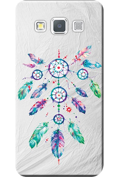 Kılıf Merkezi Samsung Galaxy A8 Kılıf SM-A800 Silikon Baskılı Renkli Tüyler STK:565